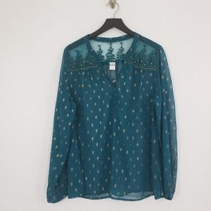 Tunic Top Teal Gold Sheer Boho Peasant Holiday XL